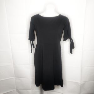 ASOS Black A-Line Tie Sleeves Midi Dress Sz 12